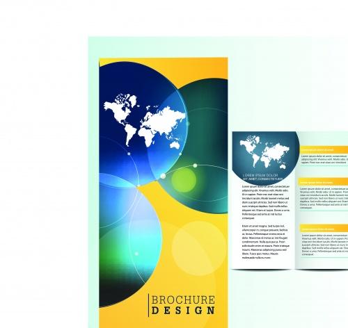 Бизнес брошюра из трёх страниц часть 37 | Tri fold business brochure vector set 37