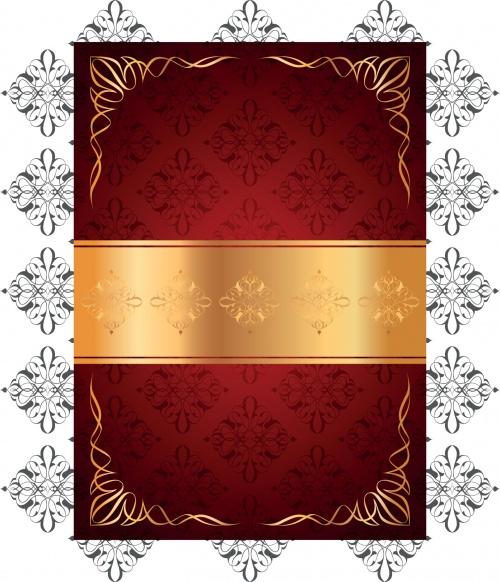 Красные винтажные фоны с золотыми элементами в векторе / Red vintage background with gold elements in vector