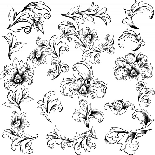 Vintage floral elements and swirl ornaments