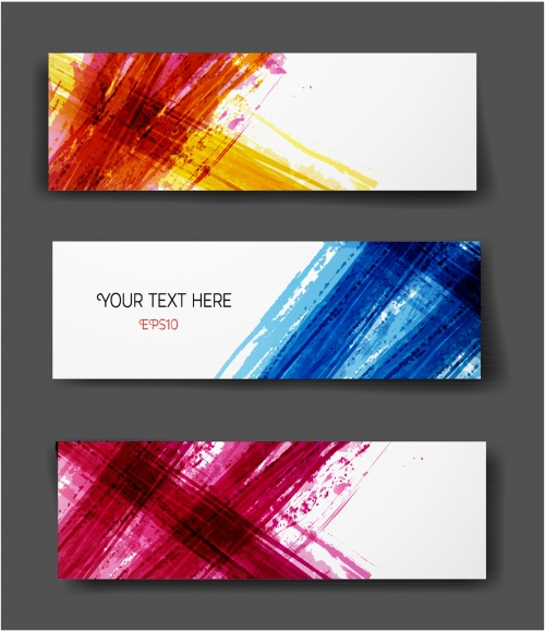 Set of bright grunge banners