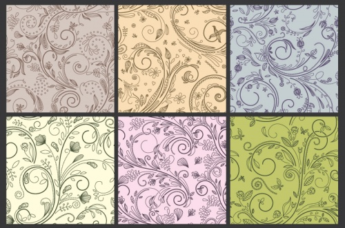 Seamless Vector Patterns Floral Chaos Set 61