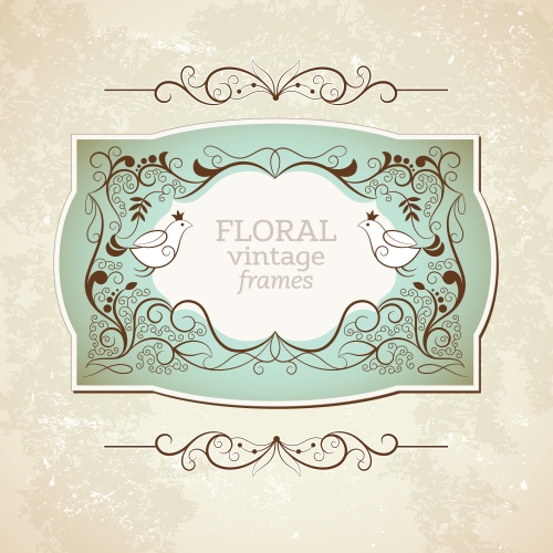 ��������� ��������� ����� � ��������� / Vintage floral frame and inscriptions in vector