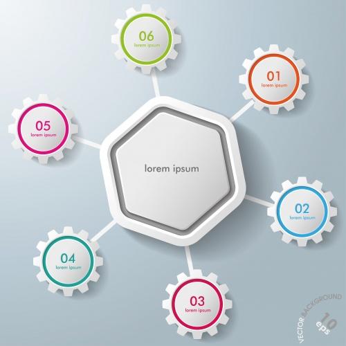 Шестиугольные механизмы с элементами инфографики / Infographic Hexagon Colorful Gears - vector stock