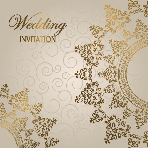 Коллекция винтажных фонов с золотыми элементами в векторе / Vintage invitations with gold ornaments in vector