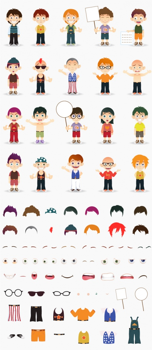 Designtnt - Manga Boys Vector Set