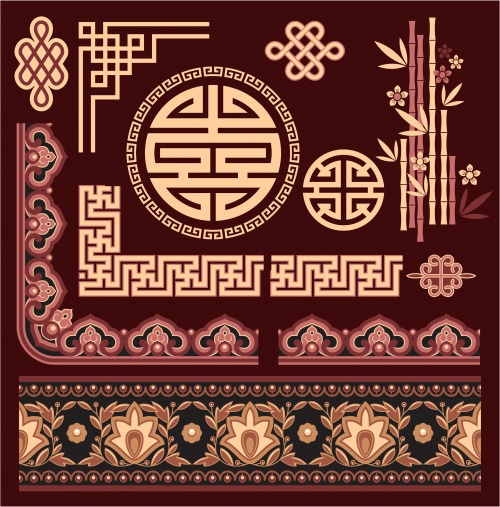 Oriental patterns and borders