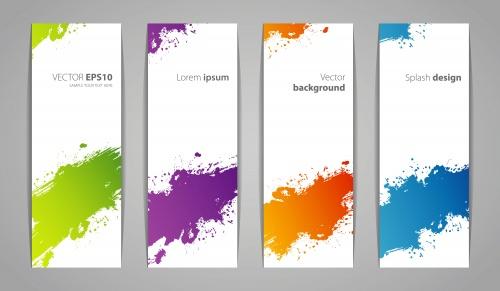 Банеры с цветными брызгами в векторе / Banners with paint splashes - vector stock