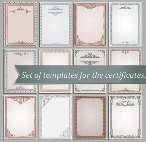Set of certificate templates