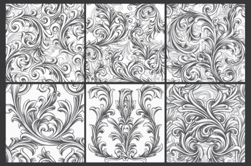 Seamless Vector Patterns Floral Chaos Engraved Set 63