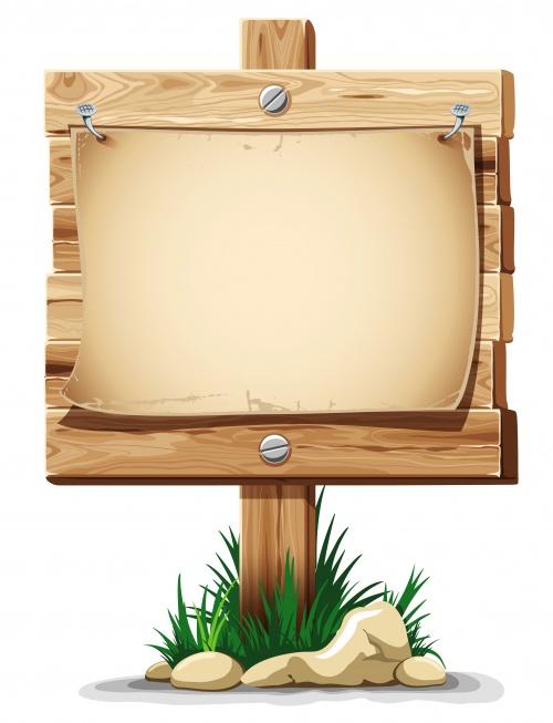 Деревянные таблички в траве - Векторный клипарт | Wooden board in the grass - Stock Vectors