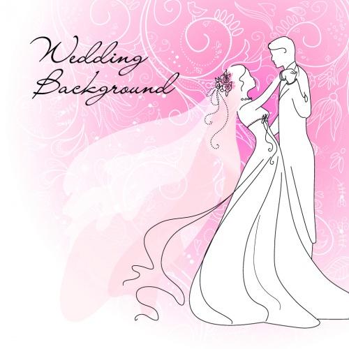 Wedding backgrounds, bride and groom, wedding - vector clipart