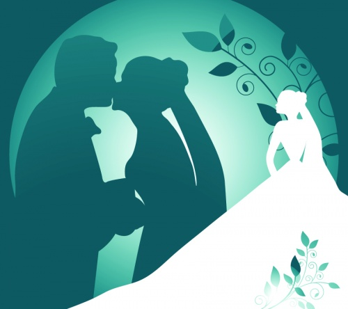 Wedding backgrounds, bride and groom, wedding - vector clipart