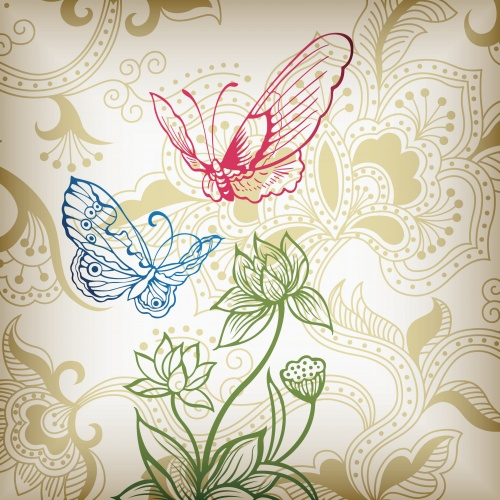 Backgrounds with flowers and butterflies, background with floral ornaments - vector