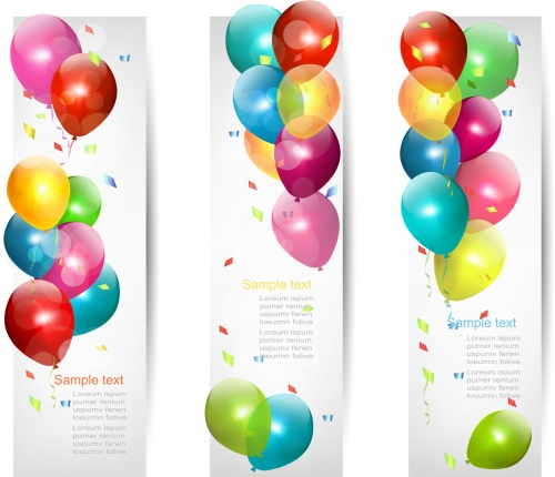 Color Balloons Banners Vector