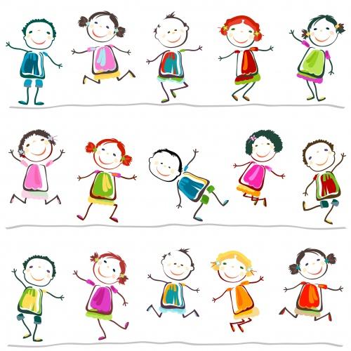 Детские фоны в Векторе с человечками / Children's backgrounds with little men in Vector