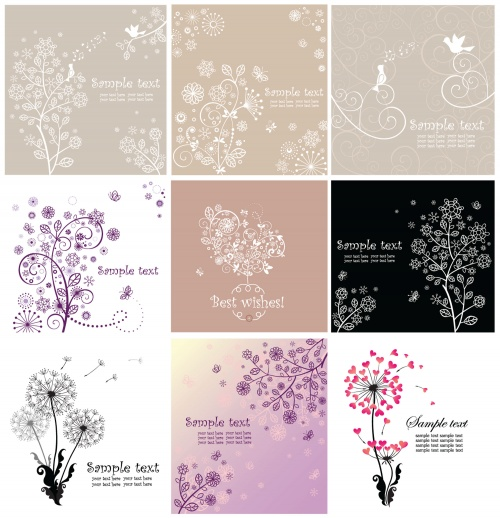 Floral greeting cards set 2