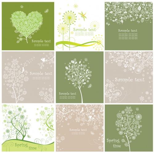 Floral greeting cards set 2