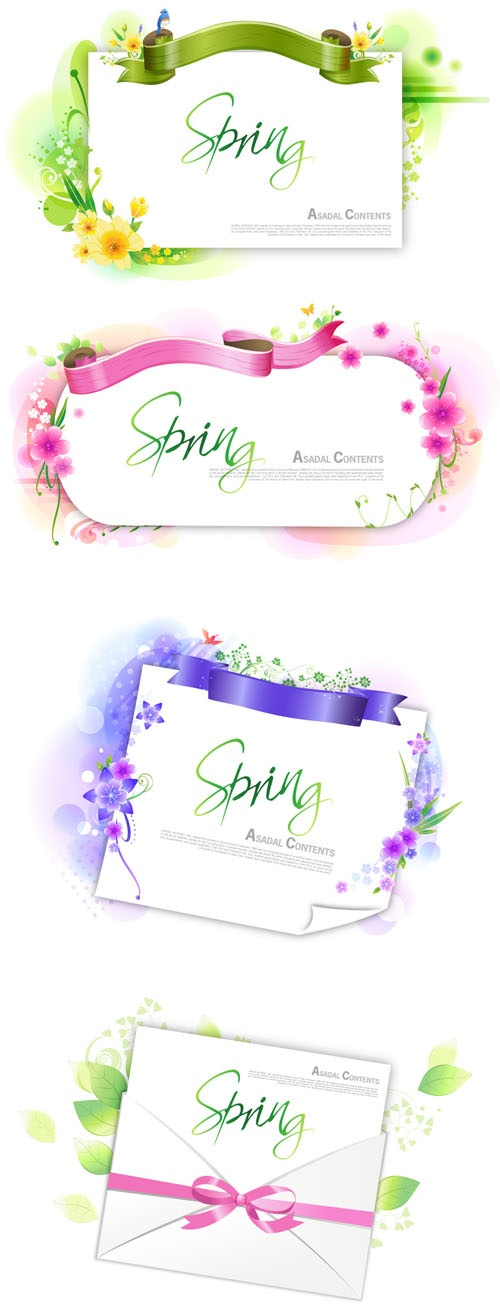 Flower frames with ribbons