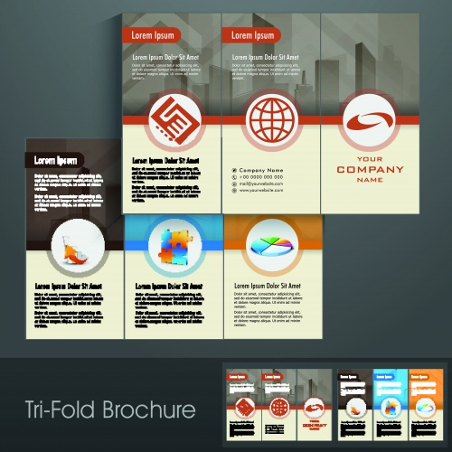 Брошюра из трёх страниц часть 35   Tri fold business brochure vector set 35