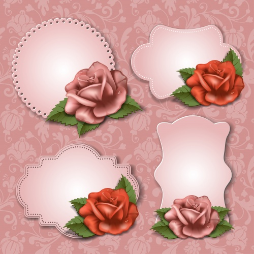 Баннеры с розами в векторе / Banners with rose - vector stock