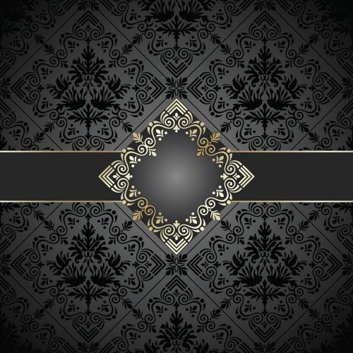 Темные векторные фоны с золотыми элементами / Black vintage backgrounds with gold elements in vector