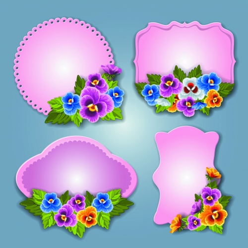 Labels with Flowers Vector